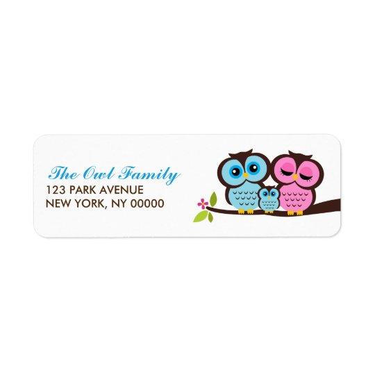 Etiquetas del remite de la familia del búho etiqueta de remite