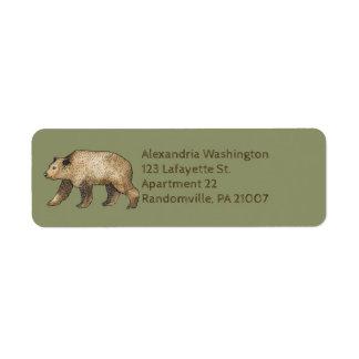 Etiquetas del remite de la verde salvia del oso de etiquetas de remite