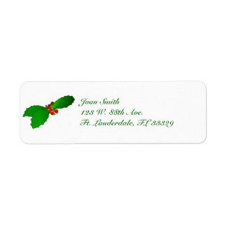 Etiquetas del remite del acebo del navidad etiqueta de remitente