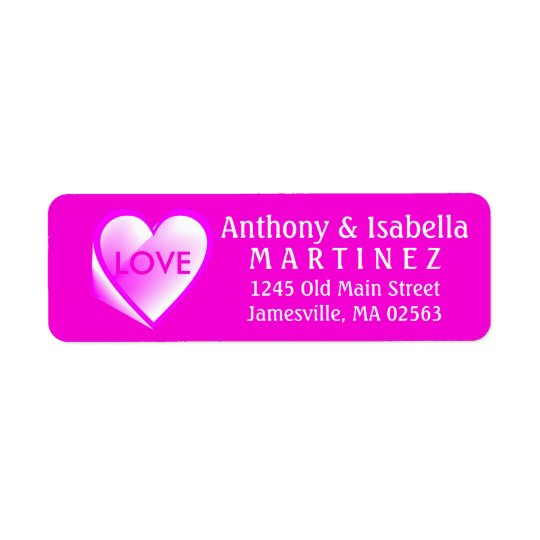 Etiquetas del remite del amor del corazón de las etiqueta de remitente