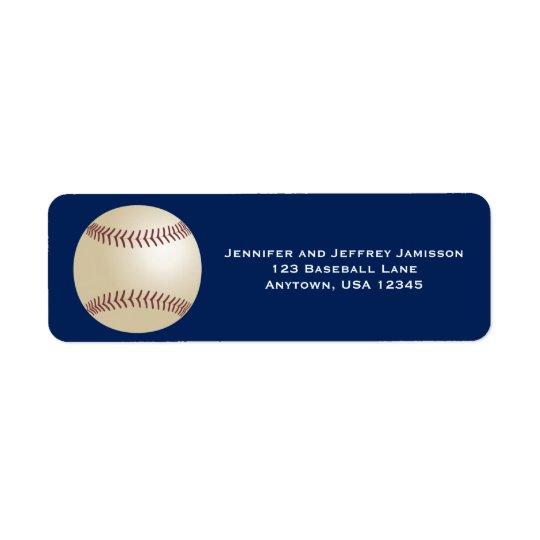 Etiquetas del remite del béisbol en azul marino