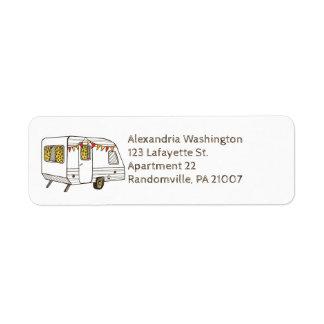 Etiquetas del remite del campista del viaje etiqueta de remitente