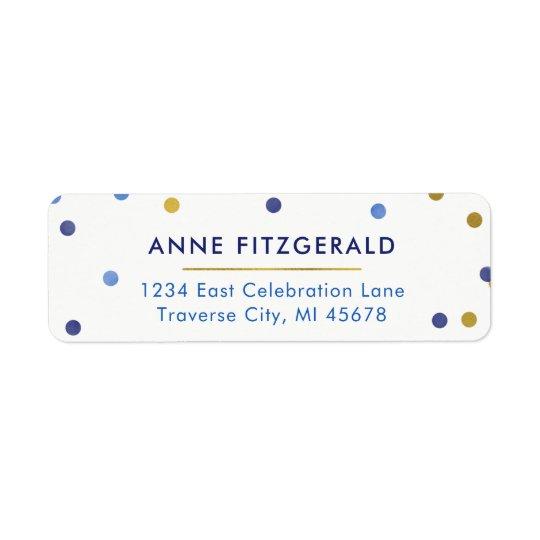 Etiquetas del remite del confeti del azul y del etiqueta de remitente