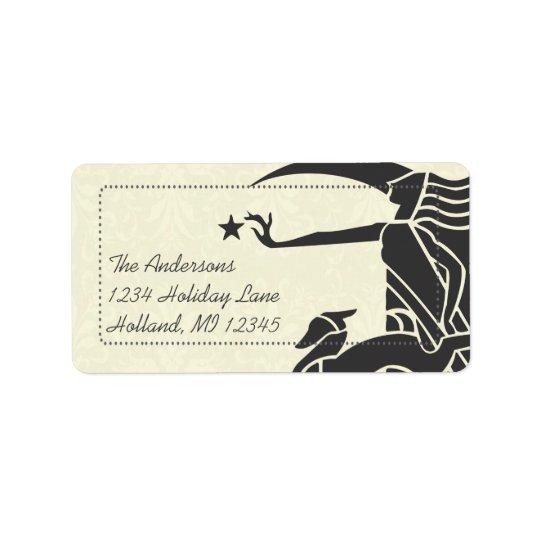 Etiquetas del remite del damasco de los ciervos de etiquetas de dirección
