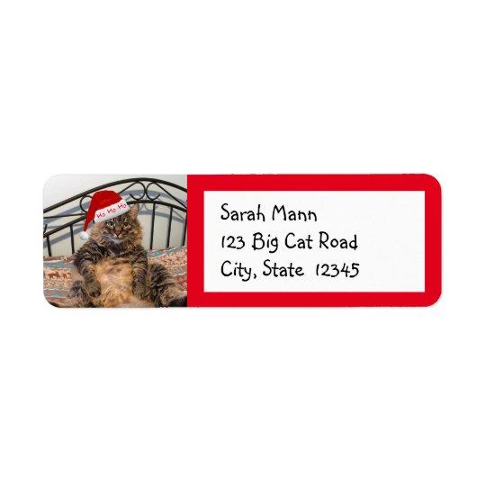 Etiquetas del remite del gato de Santa Etiqueta De Remite