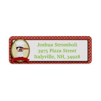 Etiquetas del remite del individuo de la pizza etiqueta de remite