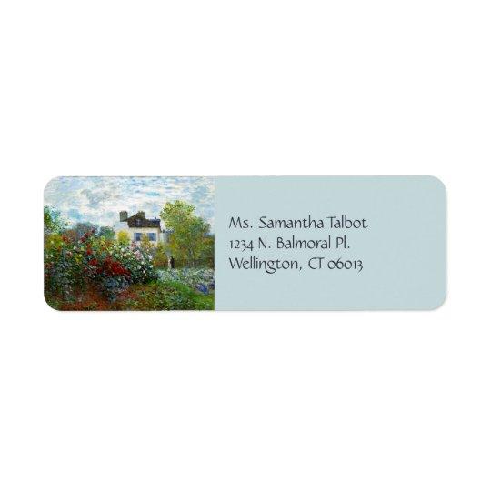 Etiquetas del remite del jardín de un artista etiqueta de remite