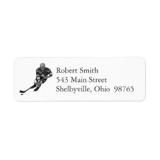 Etiquetas del remite del jugador de hockey