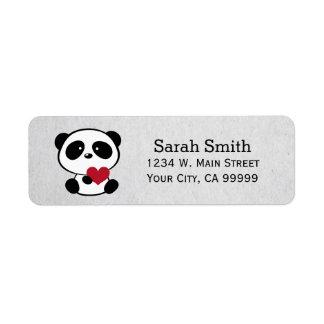 Etiquetas del remite del oso de panda del amor etiqueta de remitente