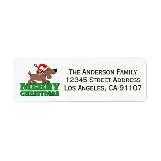 Etiquetas del remite del perrito del navidad