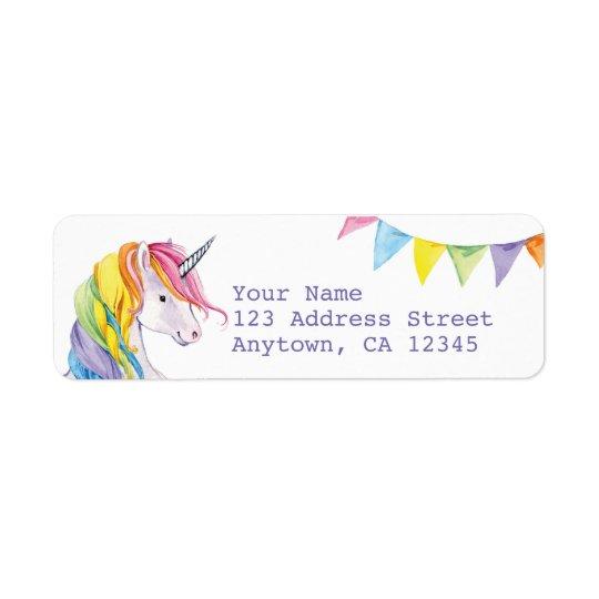 Etiquetas del remite del unicornio del arco iris etiqueta de remite