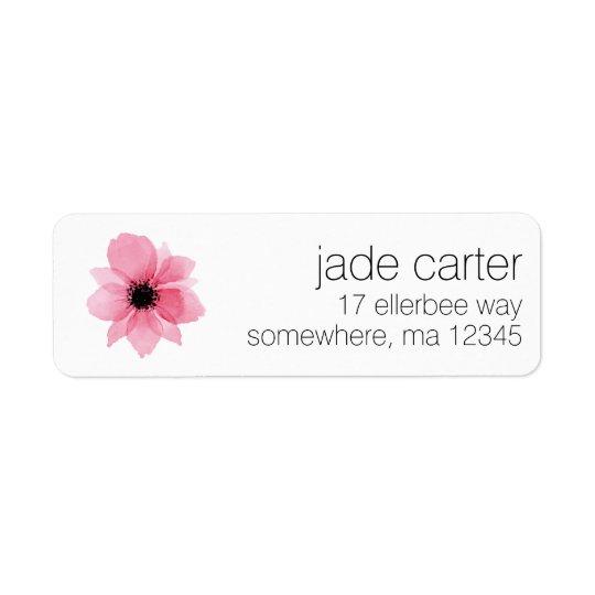Etiquetas del remite - flor rosada