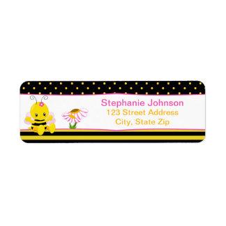 Etiquetas dulces del remite del chica de la abeja etiqueta de remitente