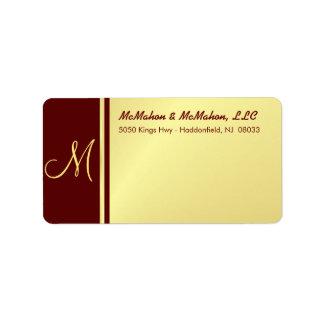 Etiquetas ejecutivas del monograma - oro y Borgoña Etiqueta De Dirección