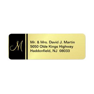 Etiquetas ejecutivas del monograma - oro y negro etiqueta de remitente