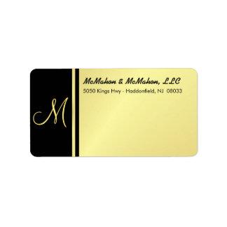 Etiquetas ejecutivas del monograma - oro y negro etiquetas de dirección