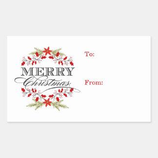 Etiquetas elegantes del regalo de la tipografía pegatina rectangular
