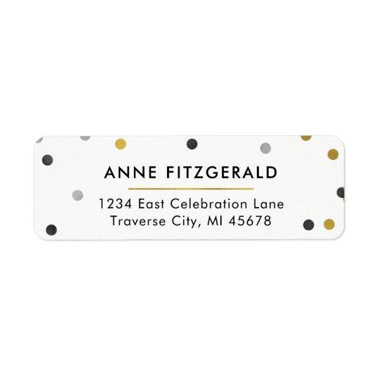 Etiquetas elegantes del remite del confeti del oro etiqueta de remitente