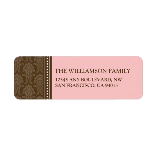 Etiquetas elegantes del remite del damasco (rosa) etiquetas de remite