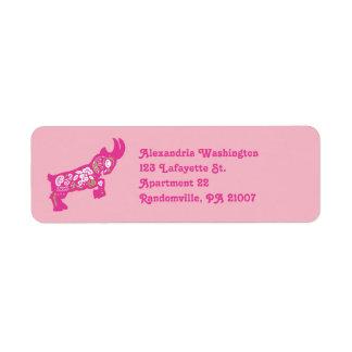 Etiquetas enanas rosadas del remite de la cabra etiquetas de remite