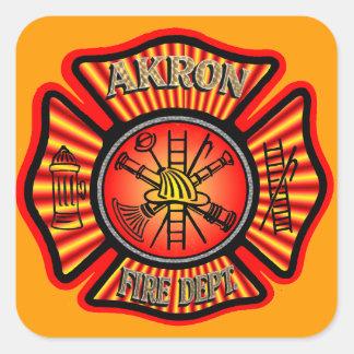 Etiquetas engomadas del cuerpo de bomberos de pegatina cuadrada