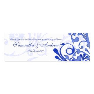 Etiquetas florales abstractas azules y blancas del tarjetas de visita mini