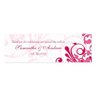 Etiquetas florales abstractas del rosa y blancas tarjetas de visita mini