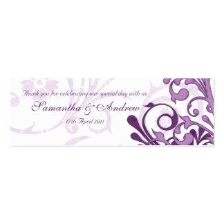 Etiquetas florales abstractas púrpuras y blancas tarjetas de visita mini