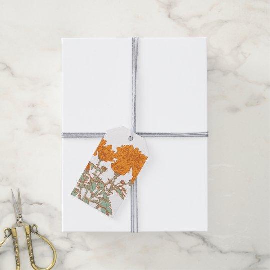 Etiquetas florales anaranjadas del regalo de los etiquetas para regalos