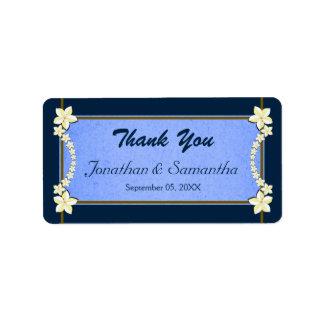 Etiquetas florales azules rústicas del favor del etiqueta de dirección