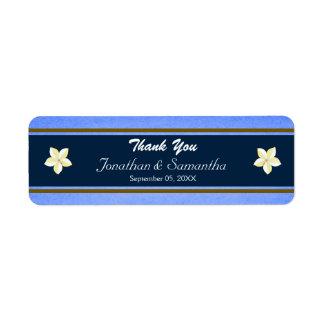 Etiquetas florales azules rústicas del favor del etiqueta de remitente