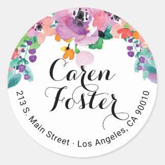 Etiquetas florales de la invitación del remite de pegatina redonda