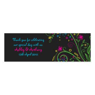 Etiquetas florales de neón del favor del boda tarjetas de visita mini