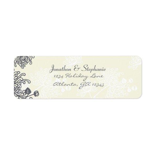 Etiquetas florales del boda del carbón de leña y etiqueta de remitente
