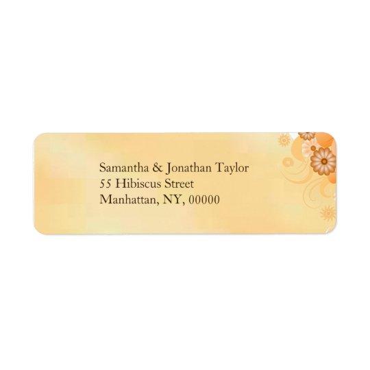 Etiquetas florales del boda del hibisco de marfil