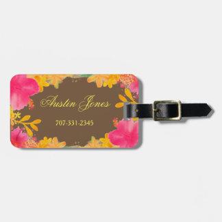 Etiquetas florales del equipaje del hibisco