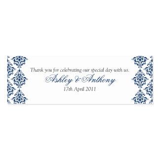 Etiquetas florales del favor del boda del damasco tarjetas de visita mini