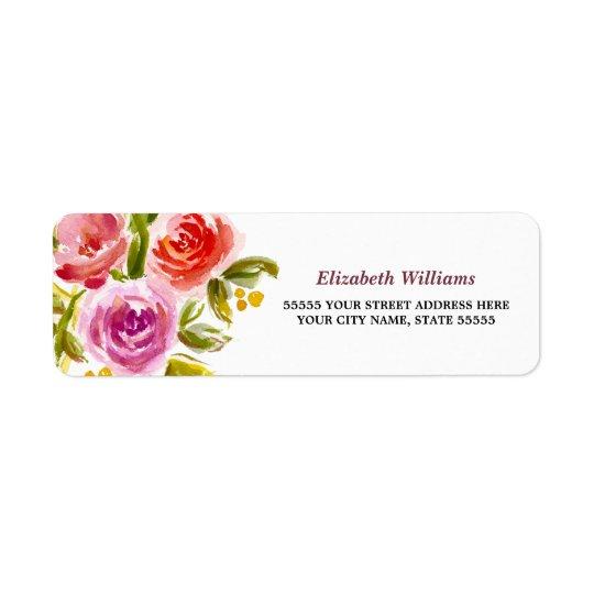 Etiquetas florales del remite del diseño de la etiqueta de remitente