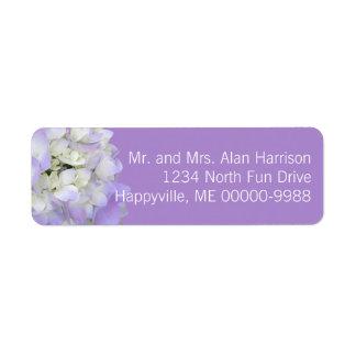 Etiquetas florales del remite del Hydrangea de la