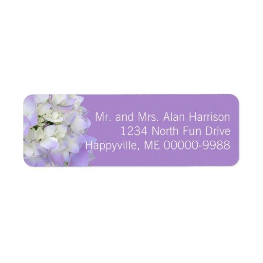 Etiquetas florales del remite del Hydrangea de la Etiqueta De Remitente