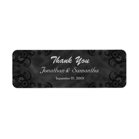 Etiquetas florales negras del favor del boda de etiqueta de remitente