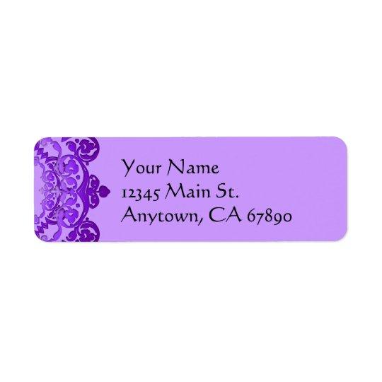 Etiquetas florales púrpuras del remite del arte de