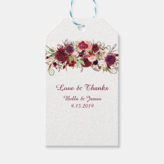 Etiquetas florales rojas del regalo del favor del