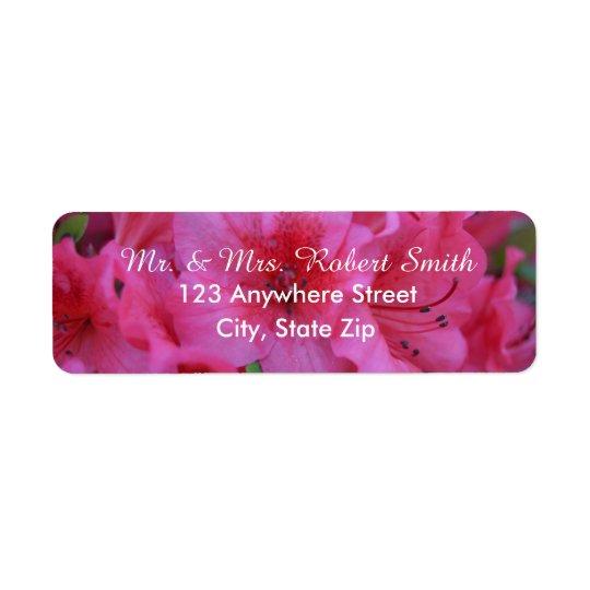Etiquetas florales rosadas brillantes del remite etiquetas de remite