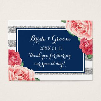 Etiquetas florales rosadas de plata azules del