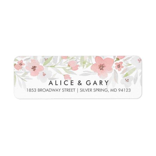 Etiquetas florales rosadas del boda de la acuarela etiqueta de remitente