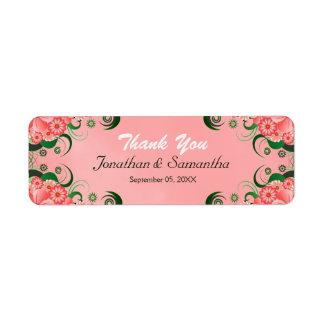 Etiquetas florales rosadas del favor del favor del etiqueta de remite