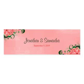 Etiquetas florales rosadas del favor del favor del tarjetas de visita mini