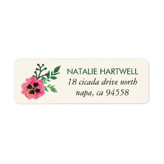 Etiquetas florales rosadas del remite etiquetas de remite