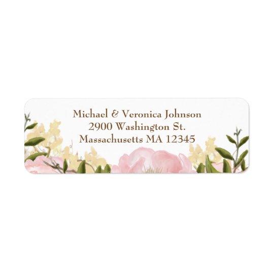 Etiquetas florales rosadas etiquetas de remite